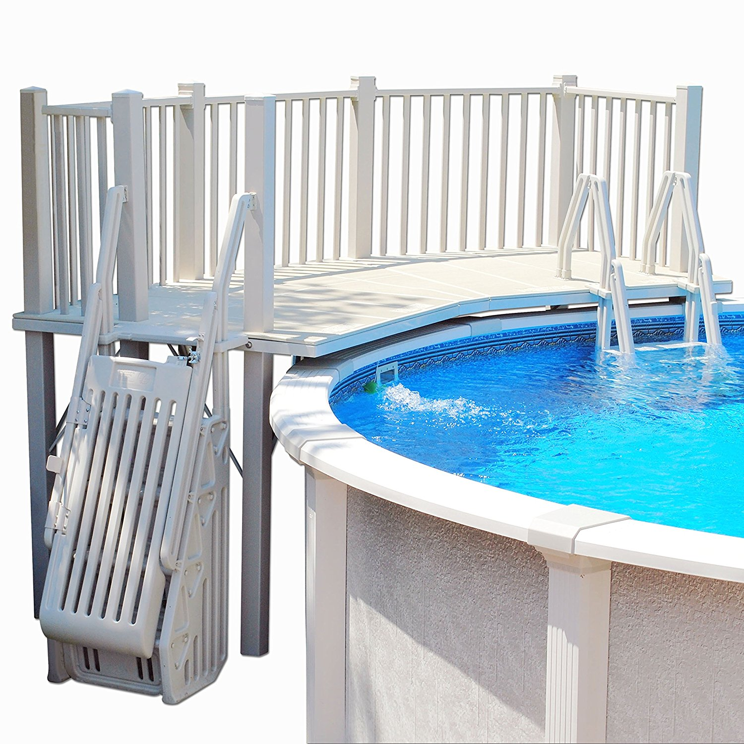 Vinyl works above ground swimming pool resin deck kit simply fun pools for Resin above ground swimming pools
