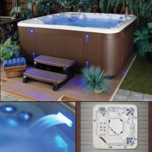 Starlight Hot Tubs Northern Star 5-Person 41-Jet Hot Tub with Sterling Silver White Shell and Brown Cabinet