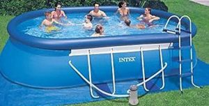 Intex 18ft x 10ft x 42in Oval Frame Above Ground Pool Set & 6 Filter Cartridges