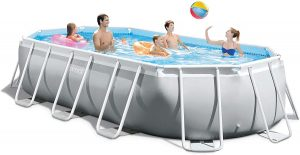 Intex 26795EH Oval Prism Frame Pool Set, 16.5ft X 9ft X 48in, Light Grey