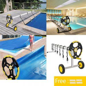 VINGLI Pool Cover Reel Set 18 Feet Pool Solar Cover Reel for Inground Swimming Pool