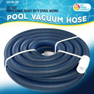 U.S. Pool Supply Professional Heavy Duty Spiral Wound Swimming Pool Vacuum Hose with Swivel Cuff
