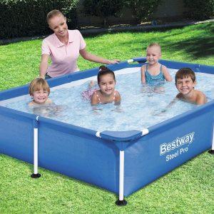 Bestway 7.2ft x 5ft x 17in Steel Pro Rectangular Pool