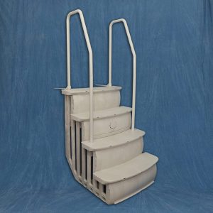 "36"" Easy Entry Step Above Ground Swimming Pool Deck Ladder - Taupe"
