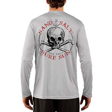 SAND.SALT.SURF.SUN Red Skull Men's Long Sleeve Sailing Shirt